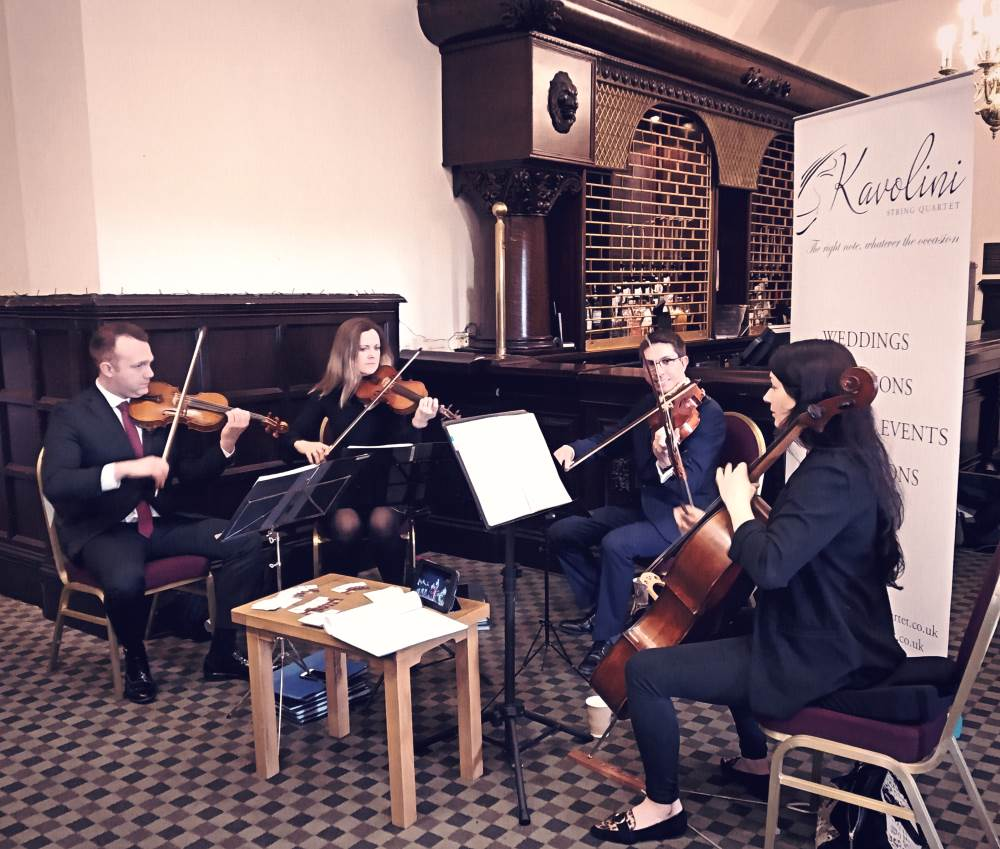 Kavolini String Quartet at Dunston Hall Wedding Show. Run by EDP Bride Magazine.