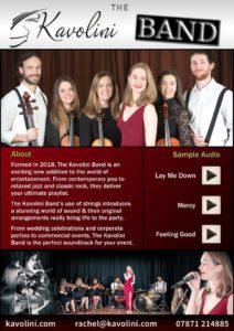 Kavolini Band Contact - Electronic Press Kit with audio links