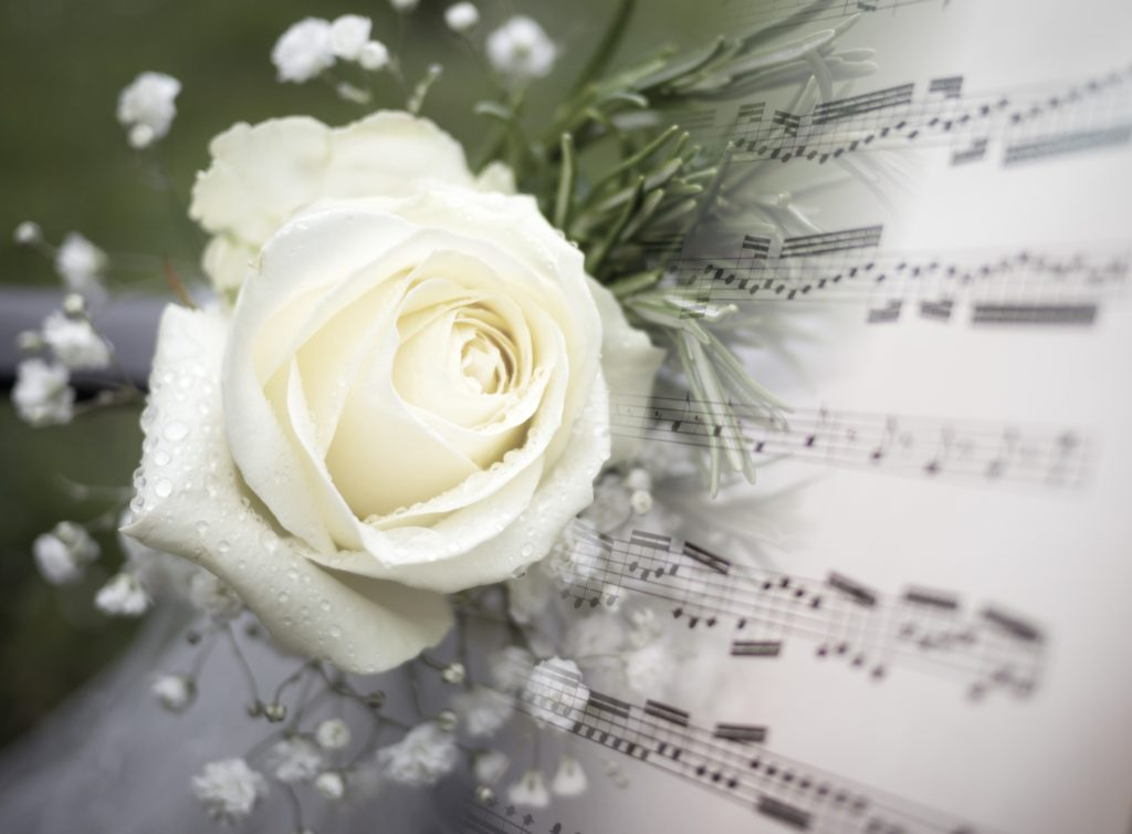 Flower and music for funeral page